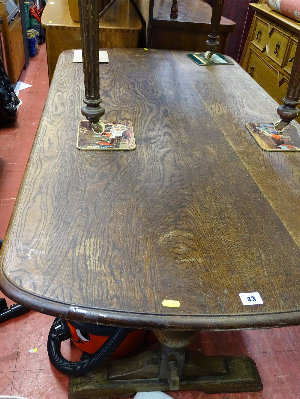 Lot 43 - Vintage oak refectory table on bulbous supports