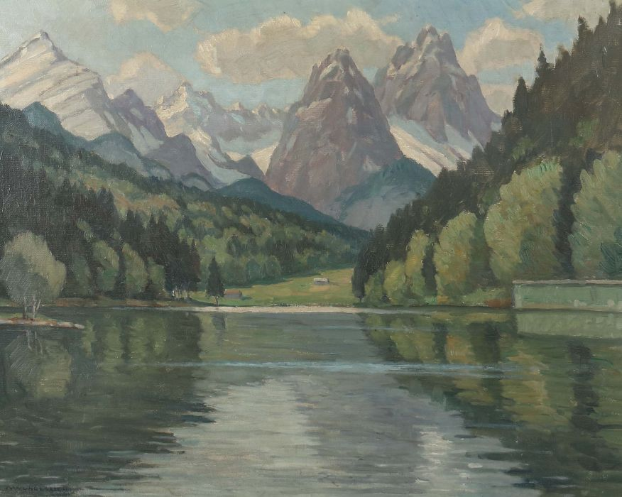 "Los 2446 - Wunderlich, Albert Geislingen 1876 - 1946 Stuttgart. ""Gebirgssee in den Alpen"", Blick über den See"