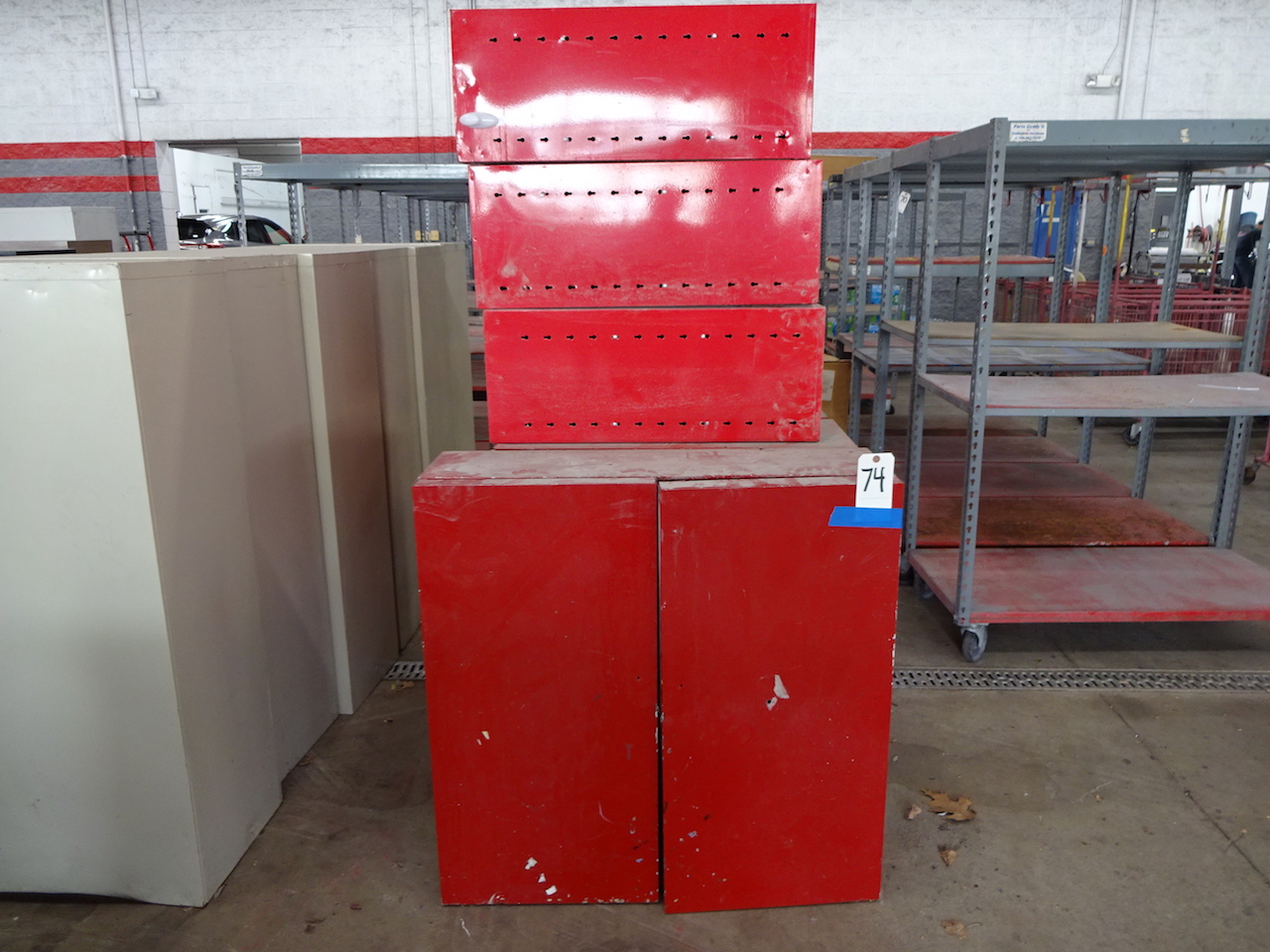Lot 74 - LOT (7) RED STEEL STORAGE CABINETS