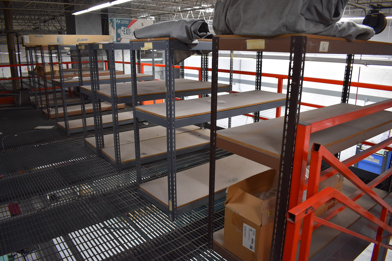 Lot 4A - LOT: (10) SECTIONS STEEL SHELVING LOCATED ON MEZZANINE