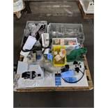 (LOT) MICROSCOPES, ARBOR PRESSES AND LAB GLASSWARE