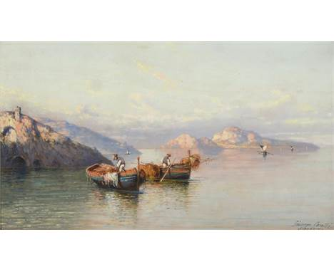 Giuseppe Carelli (1858-1921) Italian ''Sorrento'' Signed and inscribed, oil on board, 26.5cm by 47cm   See illustration . in