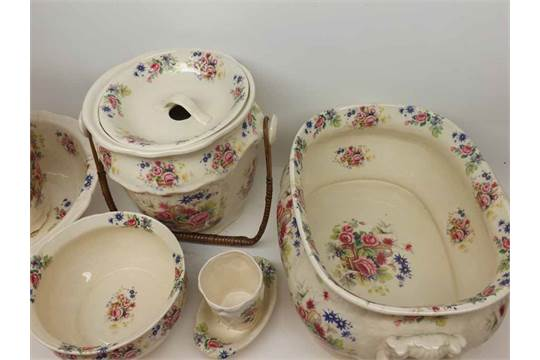 A reproduction Victorian style Ironstone Toilet Set, comprising wash