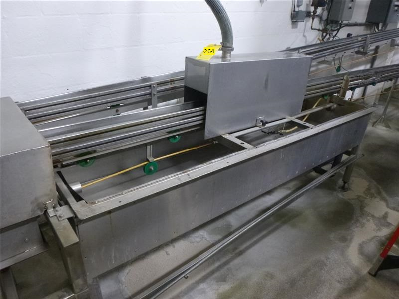 Lot 264 - S/S full can spray washer and blow dryer, c/w infeed and outfeed S/S frame can rope conveyors,
