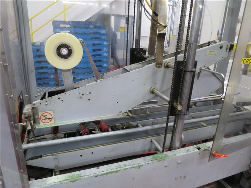 Little David case taping machine, c/w roller conveyor outfeed - Image 2 of 2