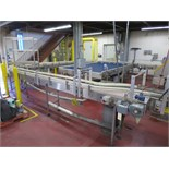 """Canners Machinery S/S frame, plastic slat chain belt conveyor system, 12"""" wide, approx. estimate +/-"""