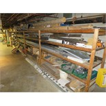assorted Pipe, Steel, & stainless stock, etc., on (3) sections of wood storage rack