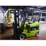 "Clark Electric Forklift, model ECG25, 4800 lb capacity to 189"" lift height, s/n ECG358-1054-9571 KF,"