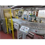"""Hytrol Tray Discharge Conveyor, from tray shrink wrapping line, 24"""" power roller type with 180"""