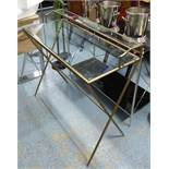 MAISON JANSEN INSPIRED DESK, gilt metal and glass, 95cm x 42cm x 89cm.