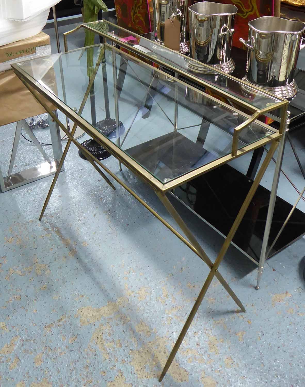 Lot 56 - MAISON JANSEN INSPIRED DESK, gilt metal and glass, 95cm x 42cm x 89cm.