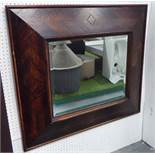 WALL MIRROR, with a parquet frame and bevelled plate, 81cm x 92cm.