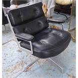LOBBY CHAIR, Charles and Ray Eames black buttoned leather, aluminium frame on swivel base.
