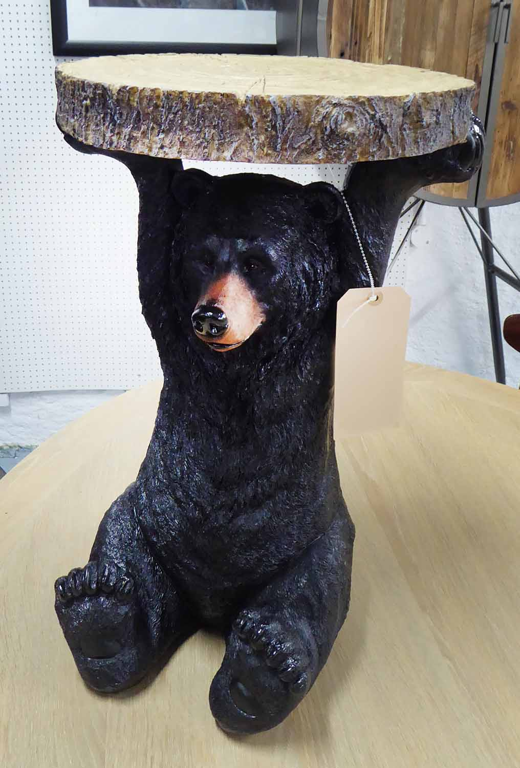 Lot 27 - BEAR SIDE TABLE, Black Forest style, 53cm H x 35cm W.