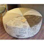 OTTOMAN, contemporary in Voyages inspired fabric, 100cm diam x 40cm.