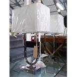 TABLE LAMPS, a pair, contemporary Continental style design, with shades, 75cm H.