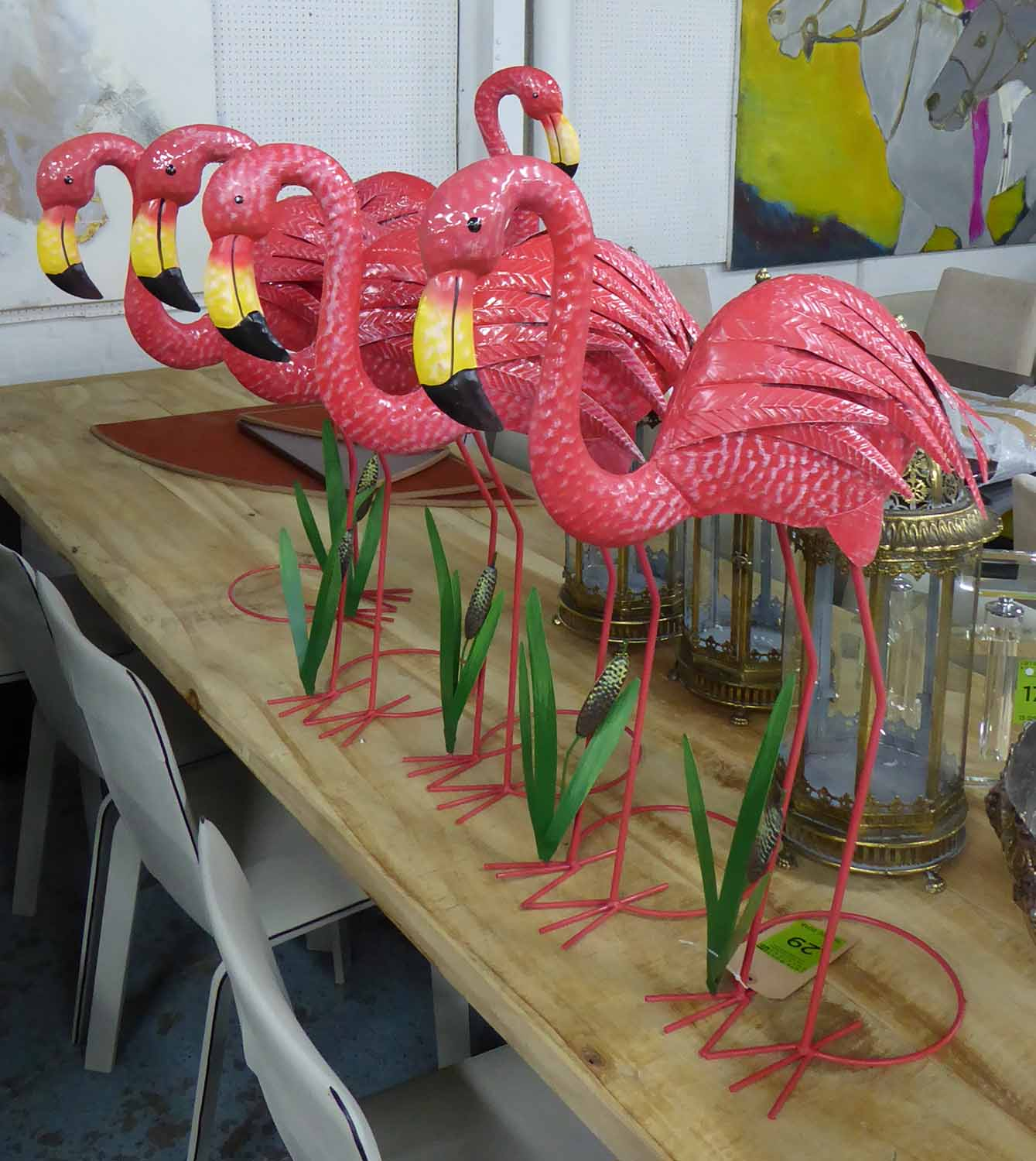 FLAMINGOS, a set of six, vintage American inspired, approx. 77cm H.