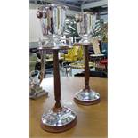 CHAMPAGNE BUCKETS ON STANDS, a pair, French Art Deco inspired , 77cm H.