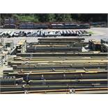 LARGE LOT OF STRUCTURAL STEEL: BEAMS, HANDRAIL, PLATE, STAIRS, BEAMS UP TO 600'' X 19'' X 17'' X