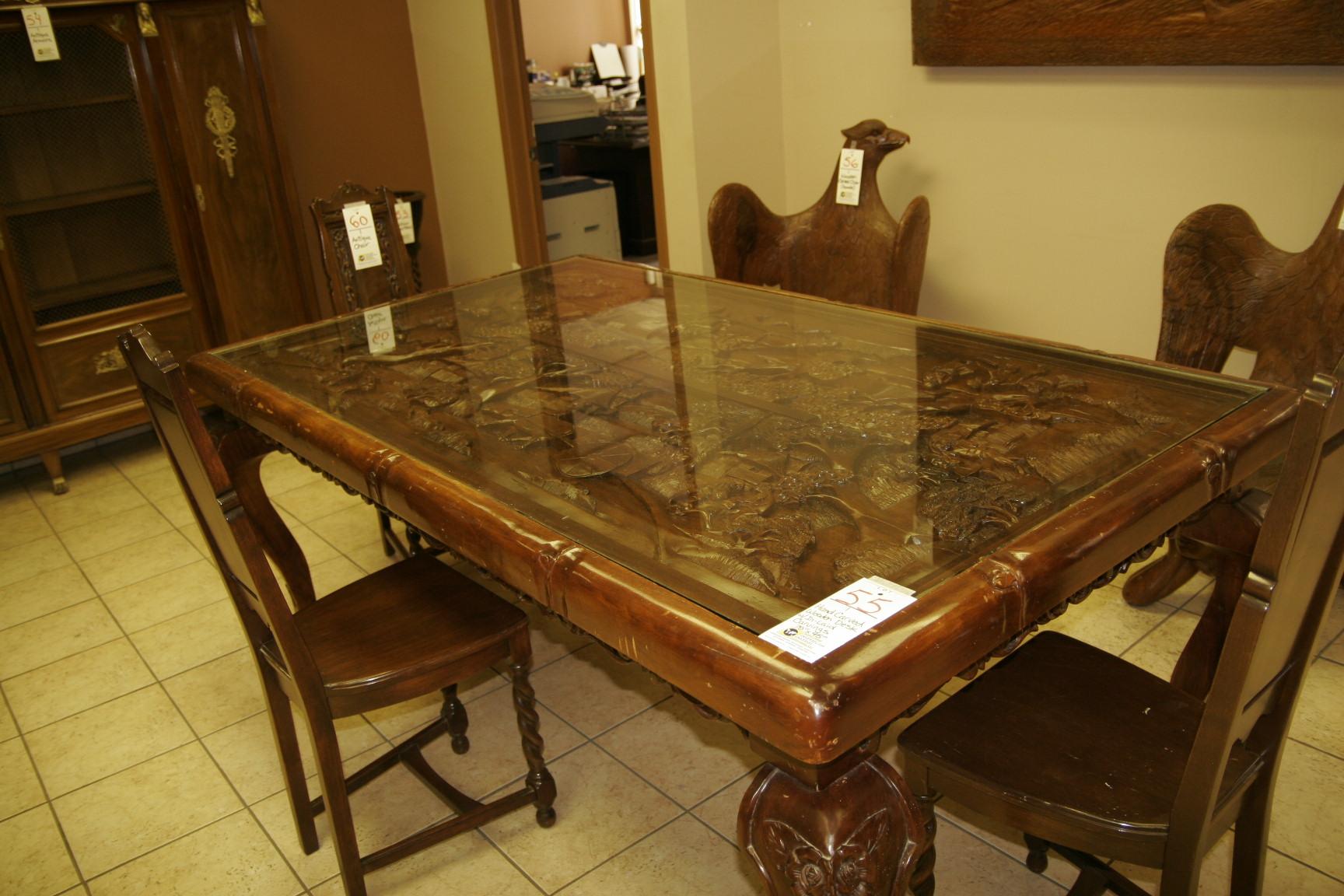 """Hand Carved Wooden Desk 78""""x45"""""""