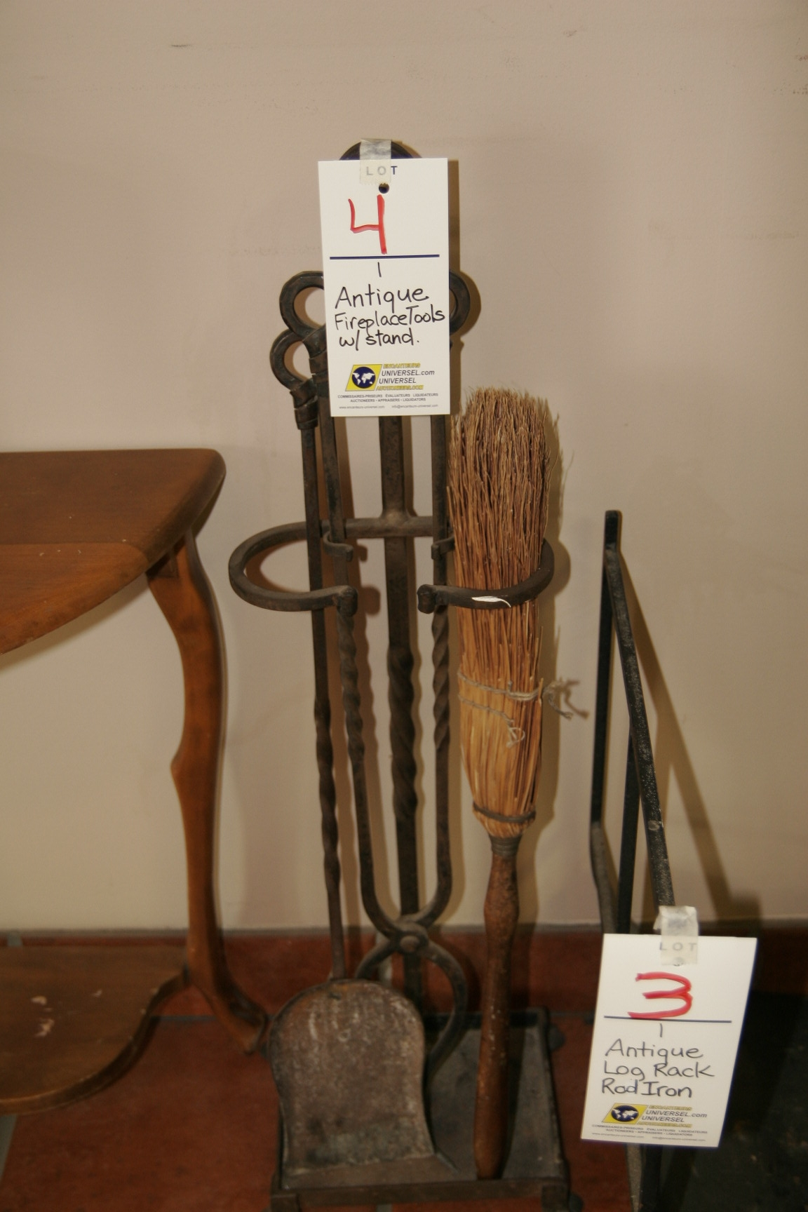 Antique Fireplace Tools w/Stand