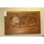 "R.Drolet Carved Wood 31""x49"""