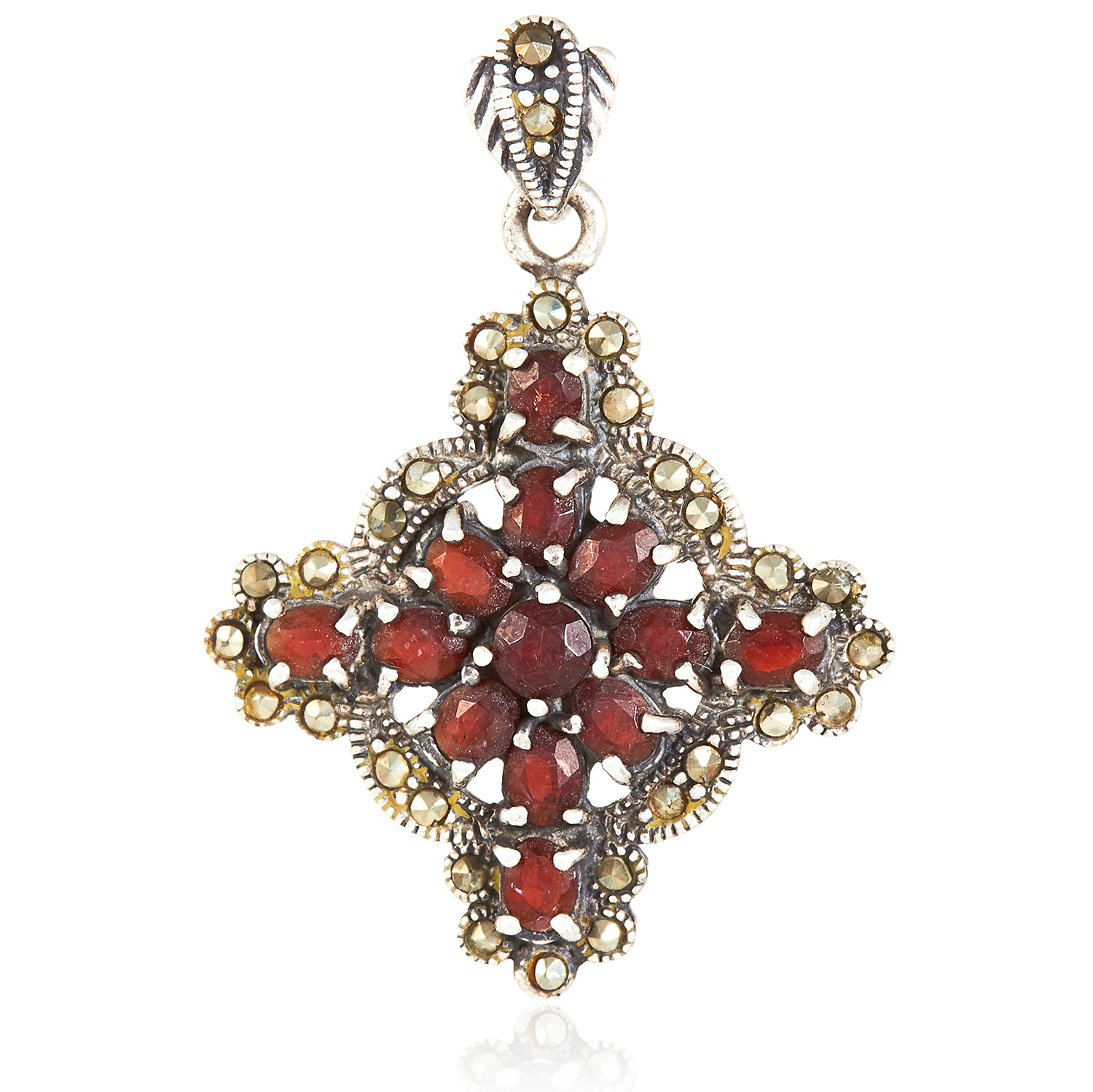A RED GEMSTONE AND MARCASITE CROSS PENDANT in sterling silver, set with round and oval cut red