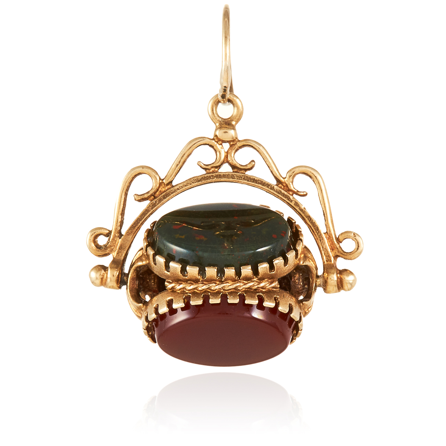 A HARD STONE FOB in yellow gold, set with carnelian, onyx and bloodstone on articulated fob,