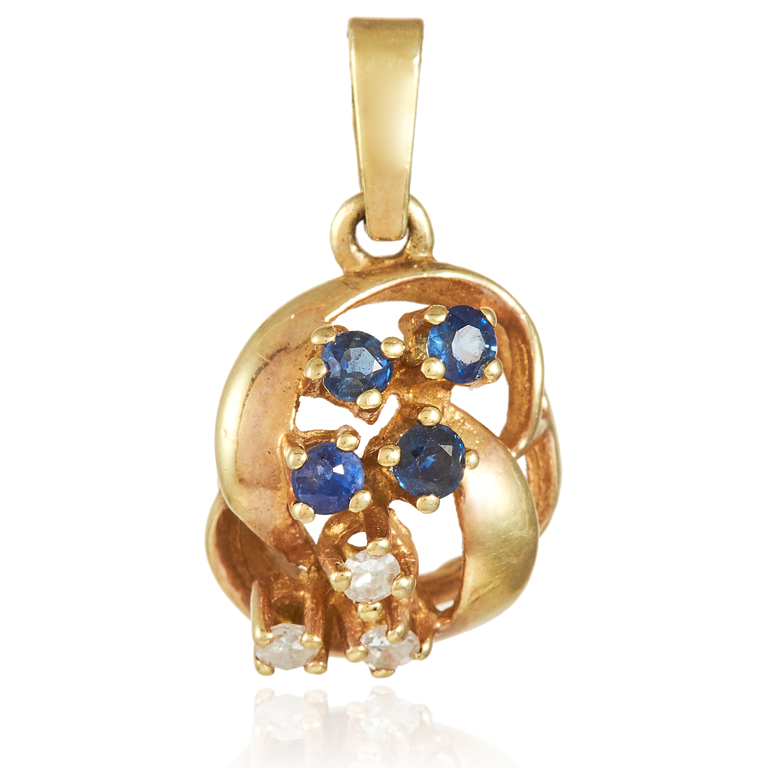 A BLUE AND WHITE GEM SET PENDANT in yellow gold, set with four round cut blue gemstones and three