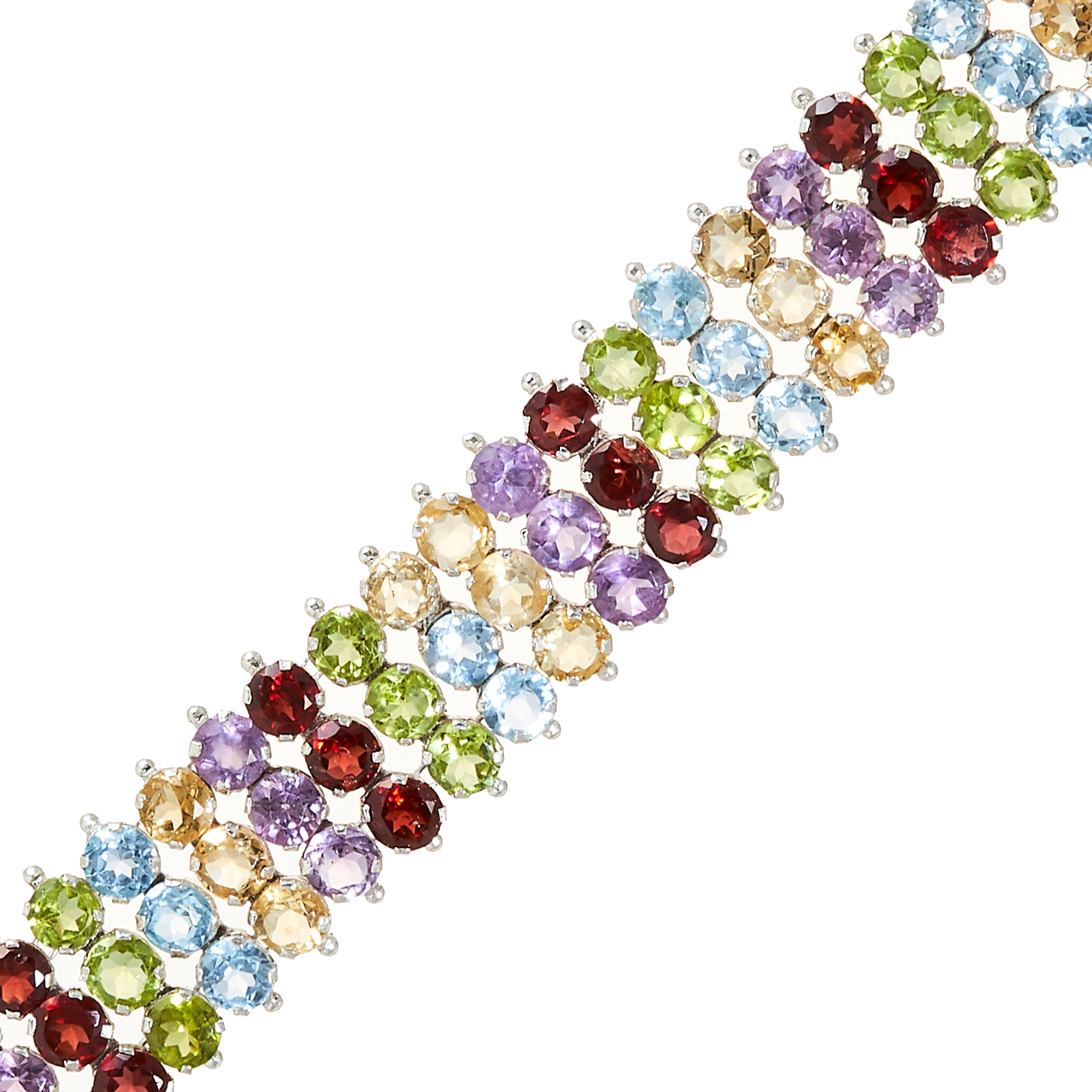 A GEMSET BRACELET in sterling silver, comprising of three rows of various round cut gems, - Image 2 of 2