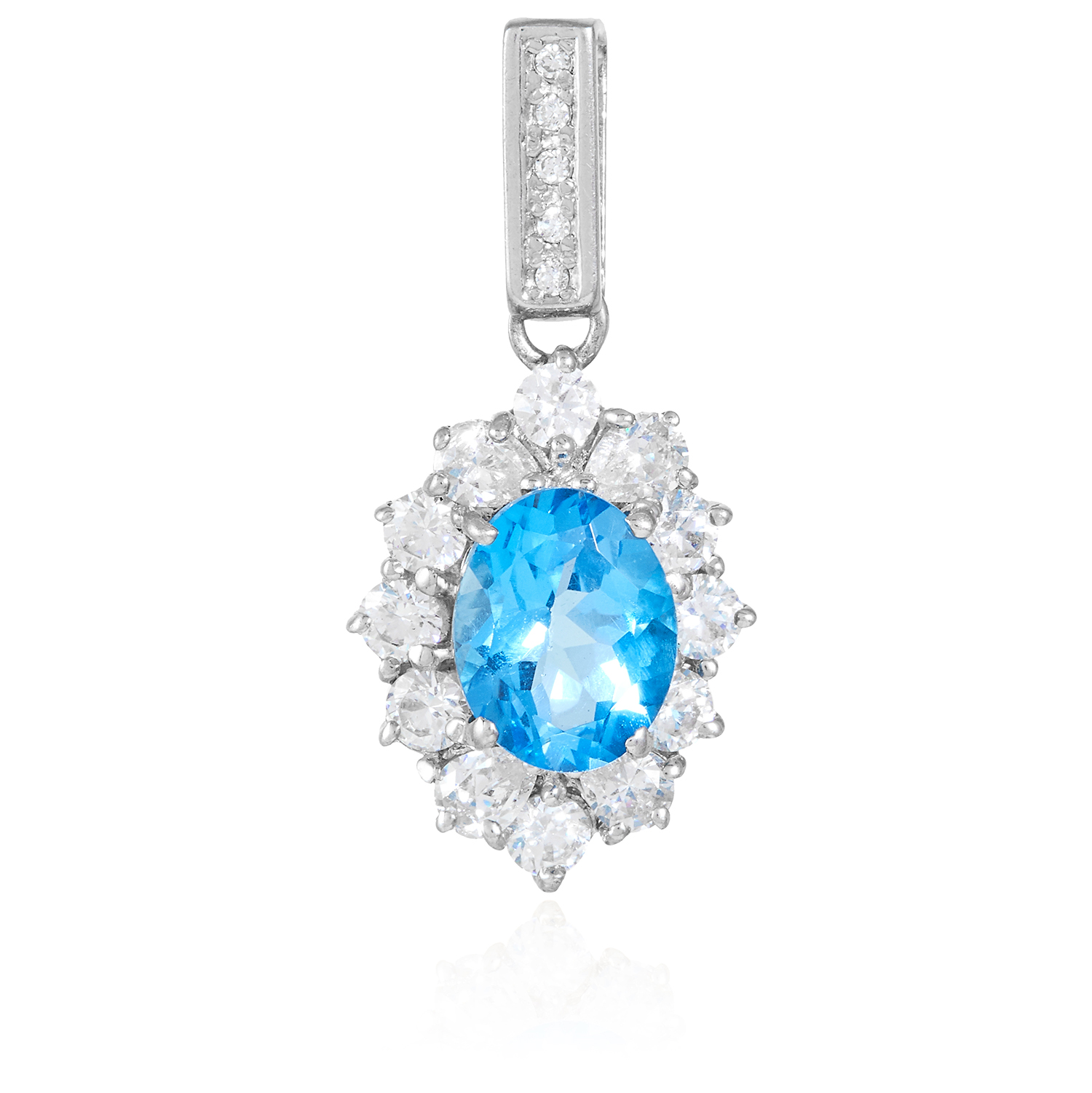 A TOPAZ AND CUBIC ZIRCONIA PENDANT in silver, set with an oval cut topaz in a border of round cut