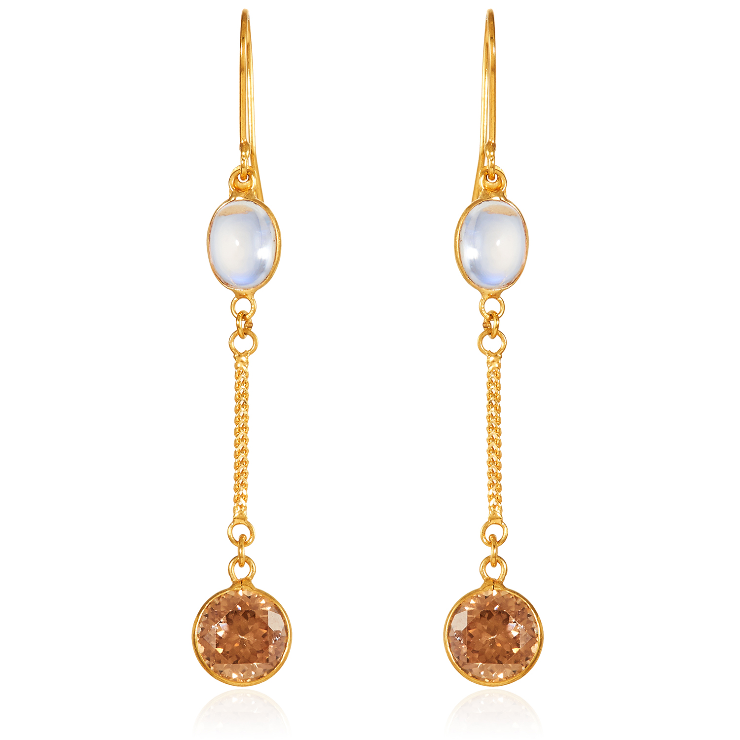 A PAIR OF MOONSTONE AND ZIRCON EARRINGS in 14ct yellow gold, set comprising of a cabochon