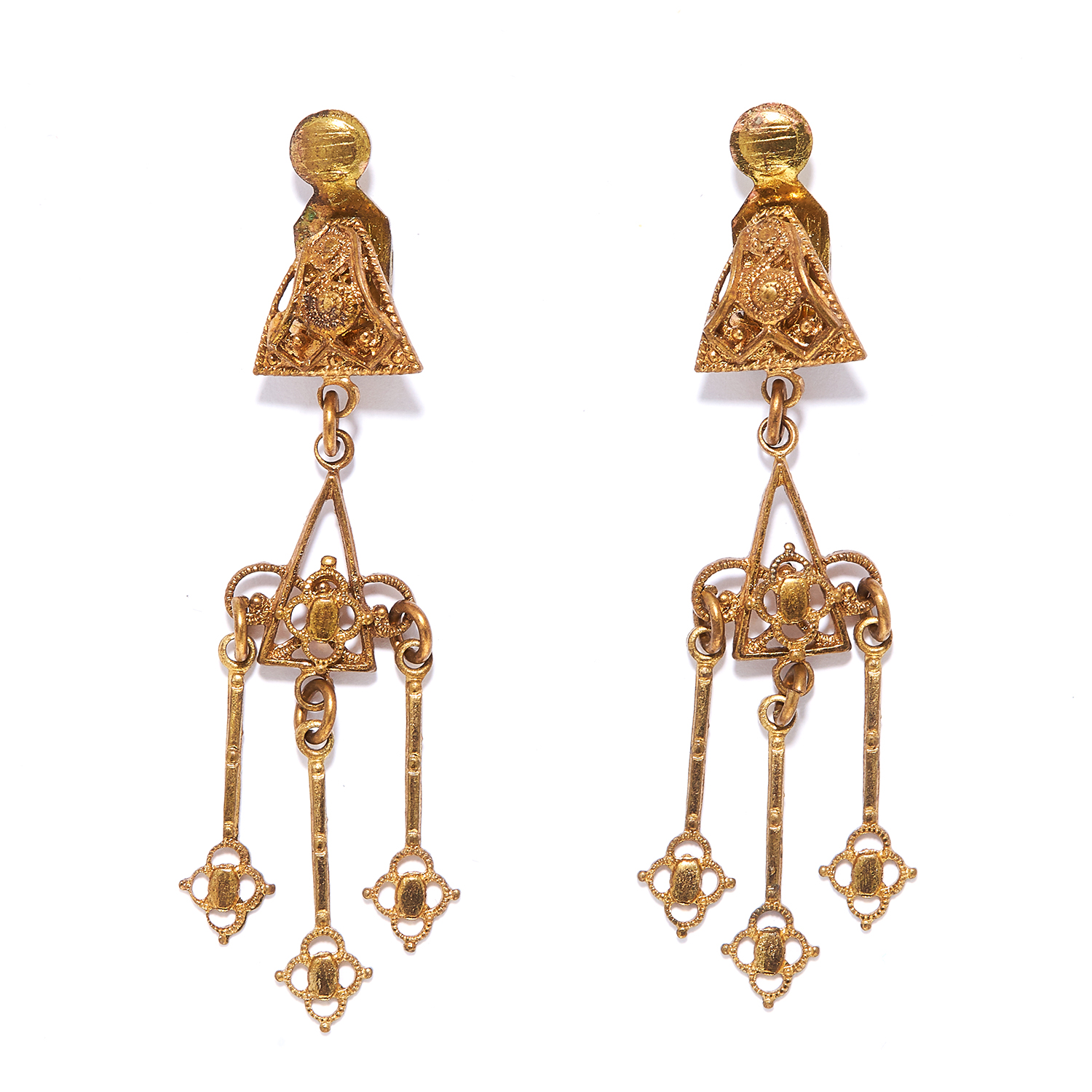 A PAIR OF GOLD EARRINGS in scrolling design, each suspending three gold tassels, unmarked, 4.31g.