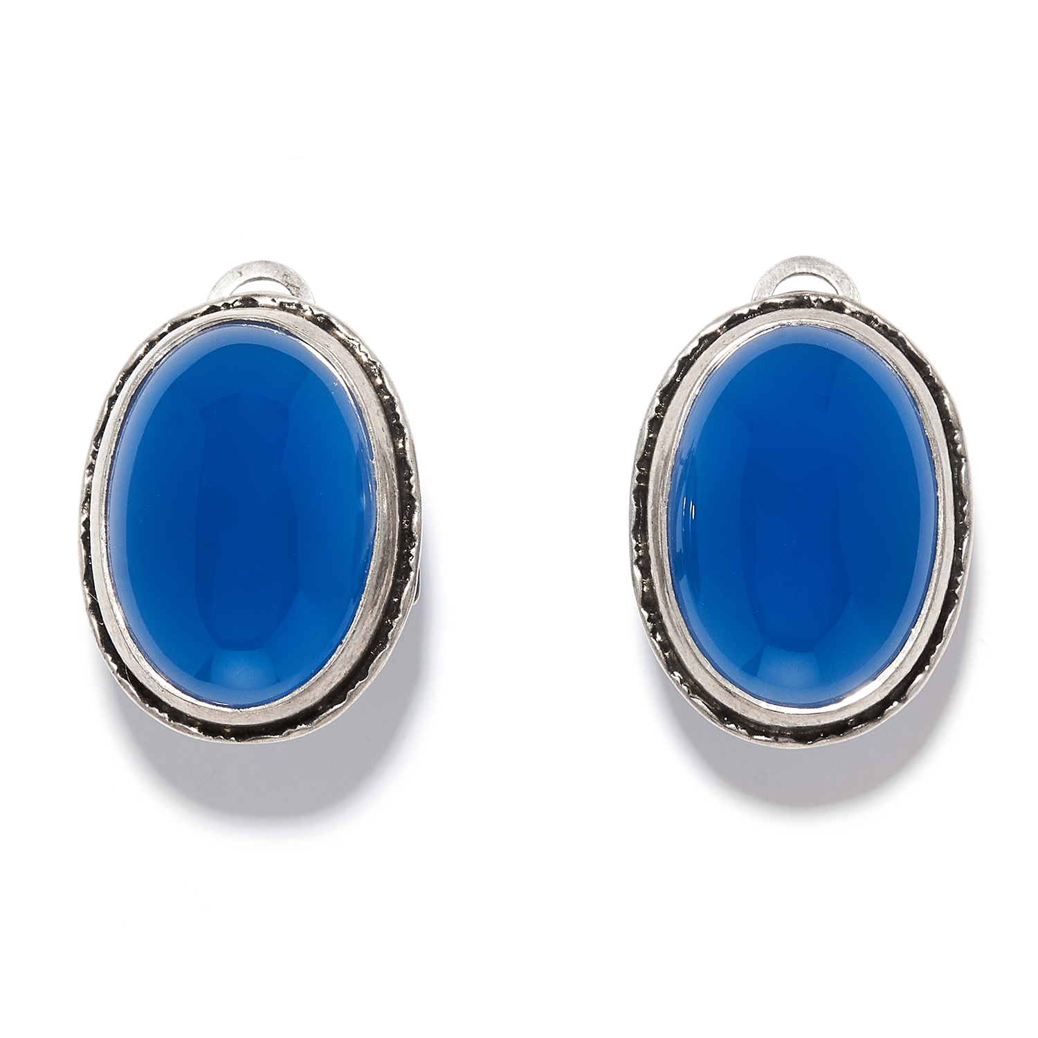 A PAIR OF BLUE STONE EARRINGS in sterling silver, each set with a cabochon blue gemstone, stamped