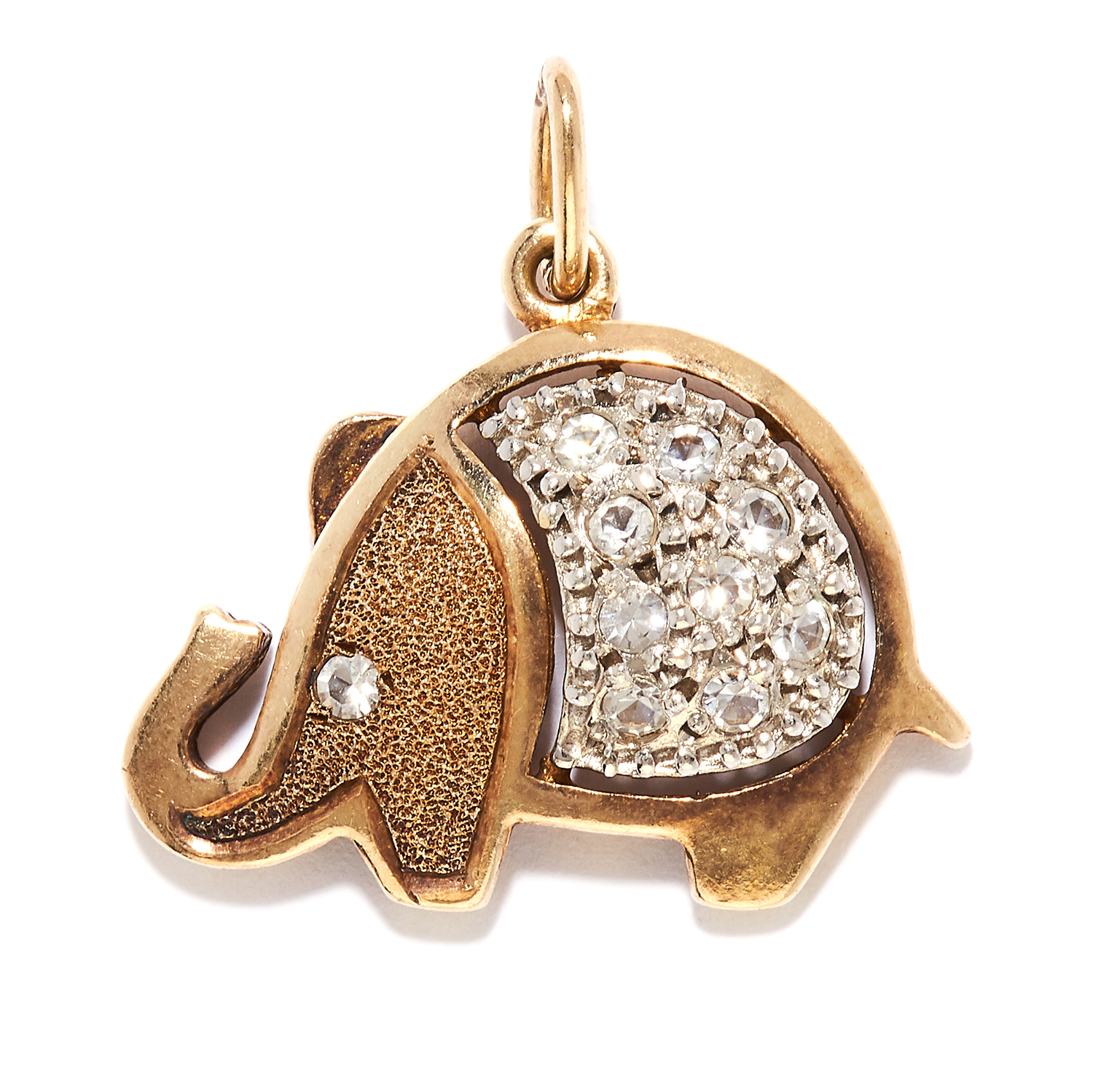 A CUBIC ZIRCONIA ELEPHANT CHARM in sterling silver, depicting an elephant set with round cut cubic
