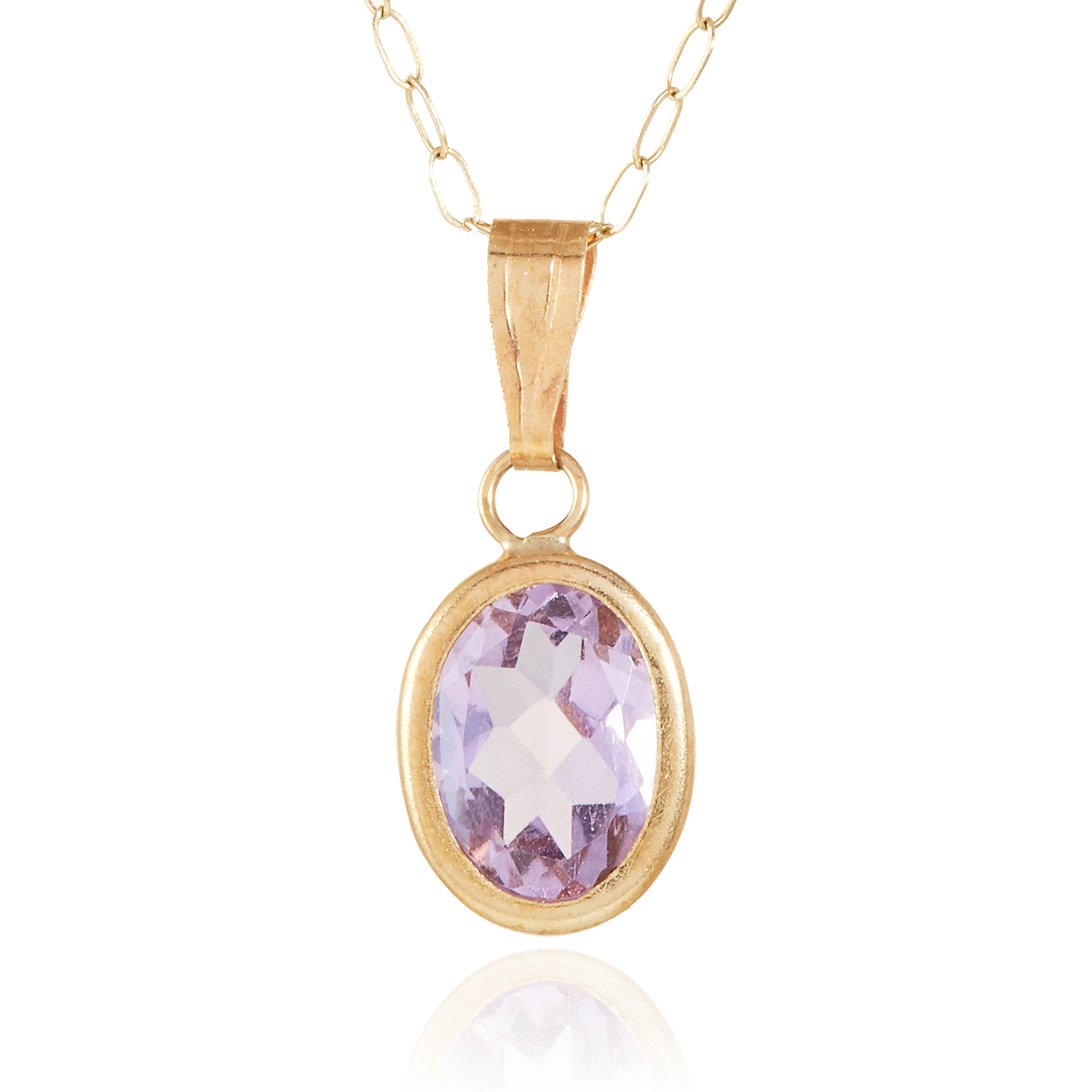 AN AMETHYST PENDANT in yellow gold, set with an oval cut amethyst, stamped 375, 0.6g.