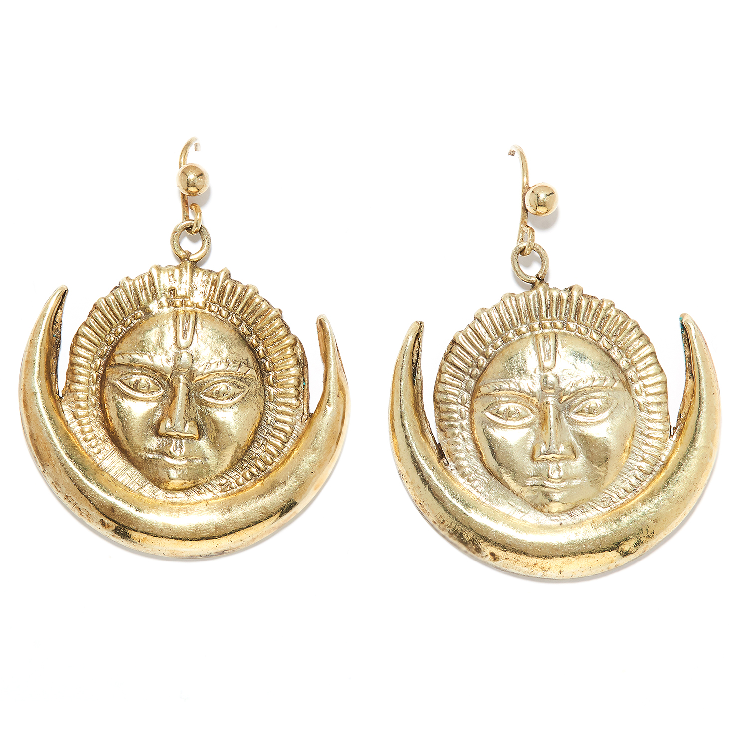 A PAIR OF SILVER EARRINGS in sterling silver, depicting a face and half moon, stamped 925, 6.98g.