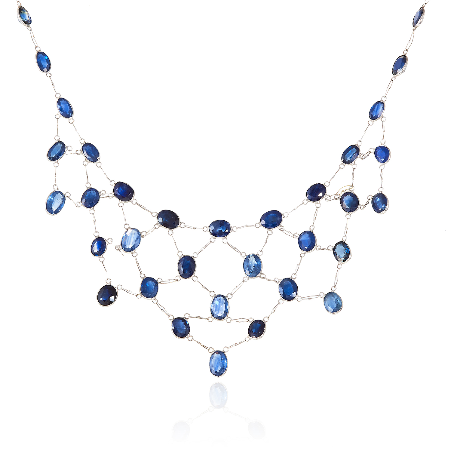 A SAPPHIRE NECKLACE in 14ct white gold, comprising of a single row of oval cut sapphires