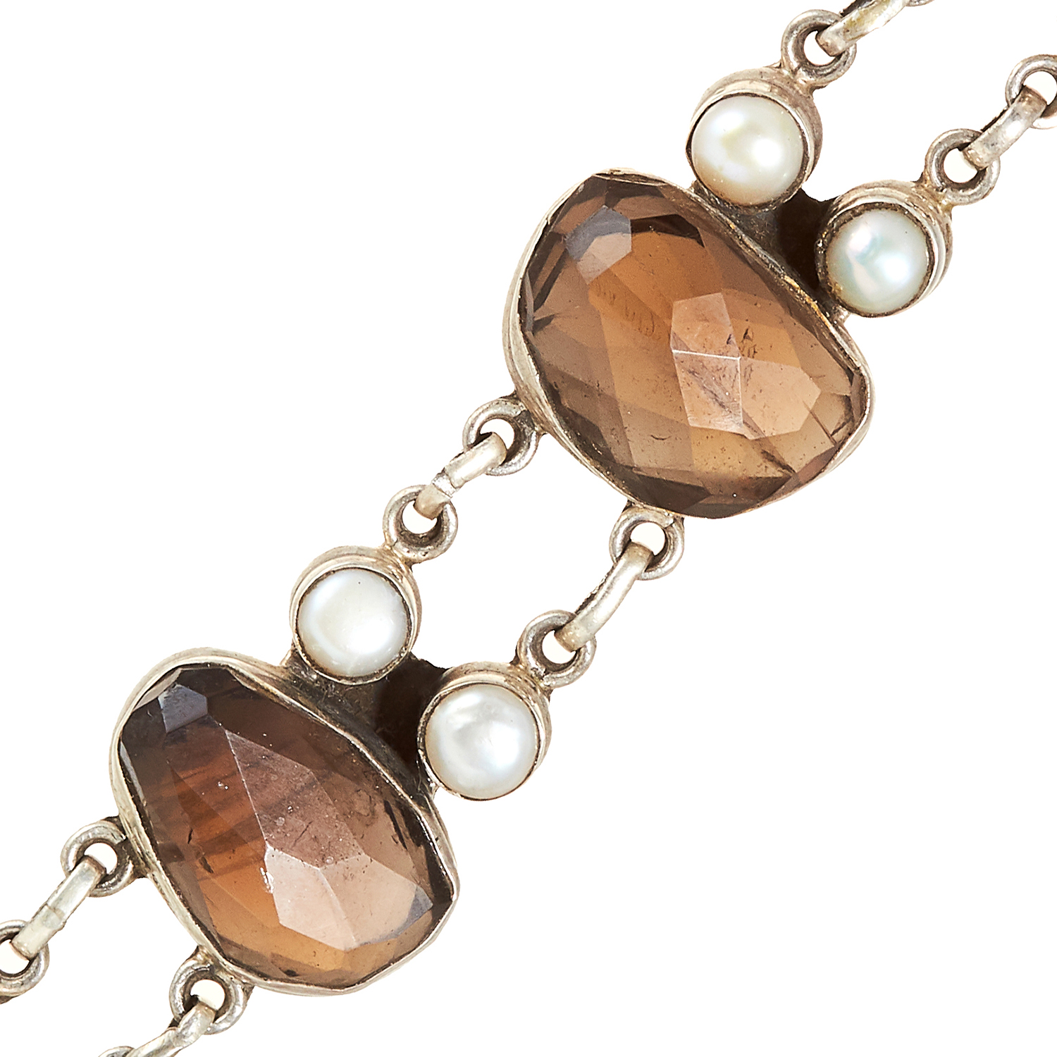 A SMOKEY QUARTZ AND PEARL BRACELET, INDIAN in sterling silver, set with four faceted smokey quartz - Image 2 of 2