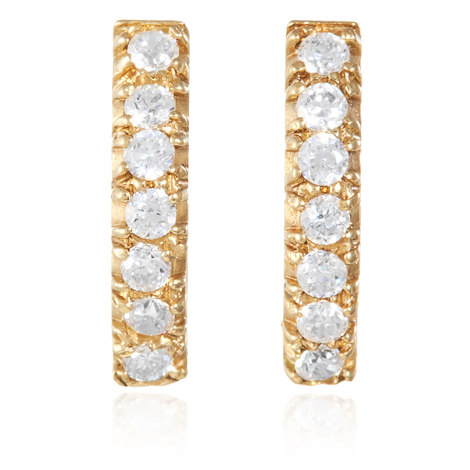 A PAIR OF HALF HOOP GEMSTONE SET EARRINGS in yellow gold, each set with seven round cut clear
