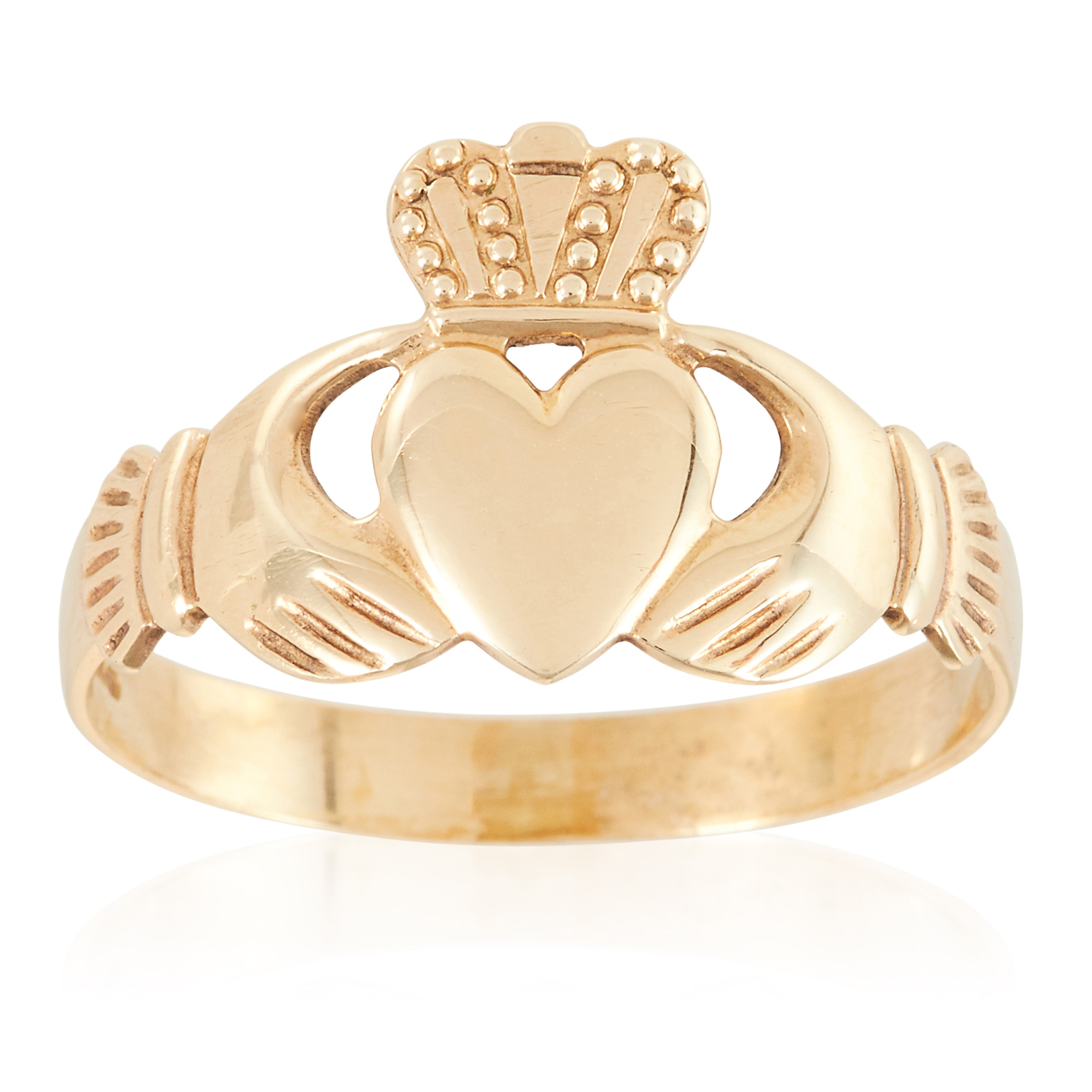 A GOLD CLADDAGH RING in yellow gold, depicting Claddagh motif, stamped 375, size Q / 8, 1.9g.