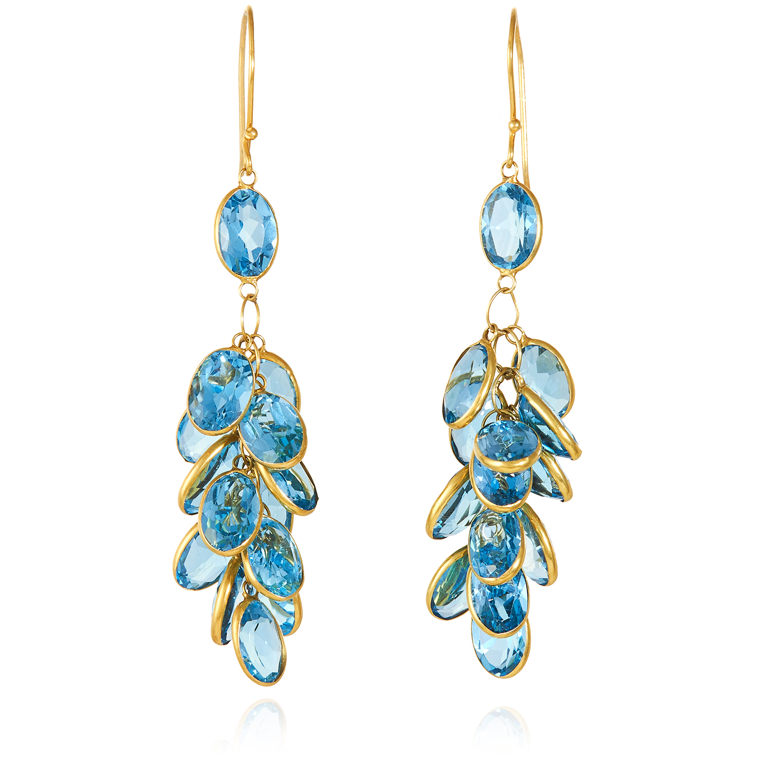 A PAIR OF TOPAZ CLUSTER EARRINGS in 14ct yellow gold, each formed of a cluster of oval cut topaz,