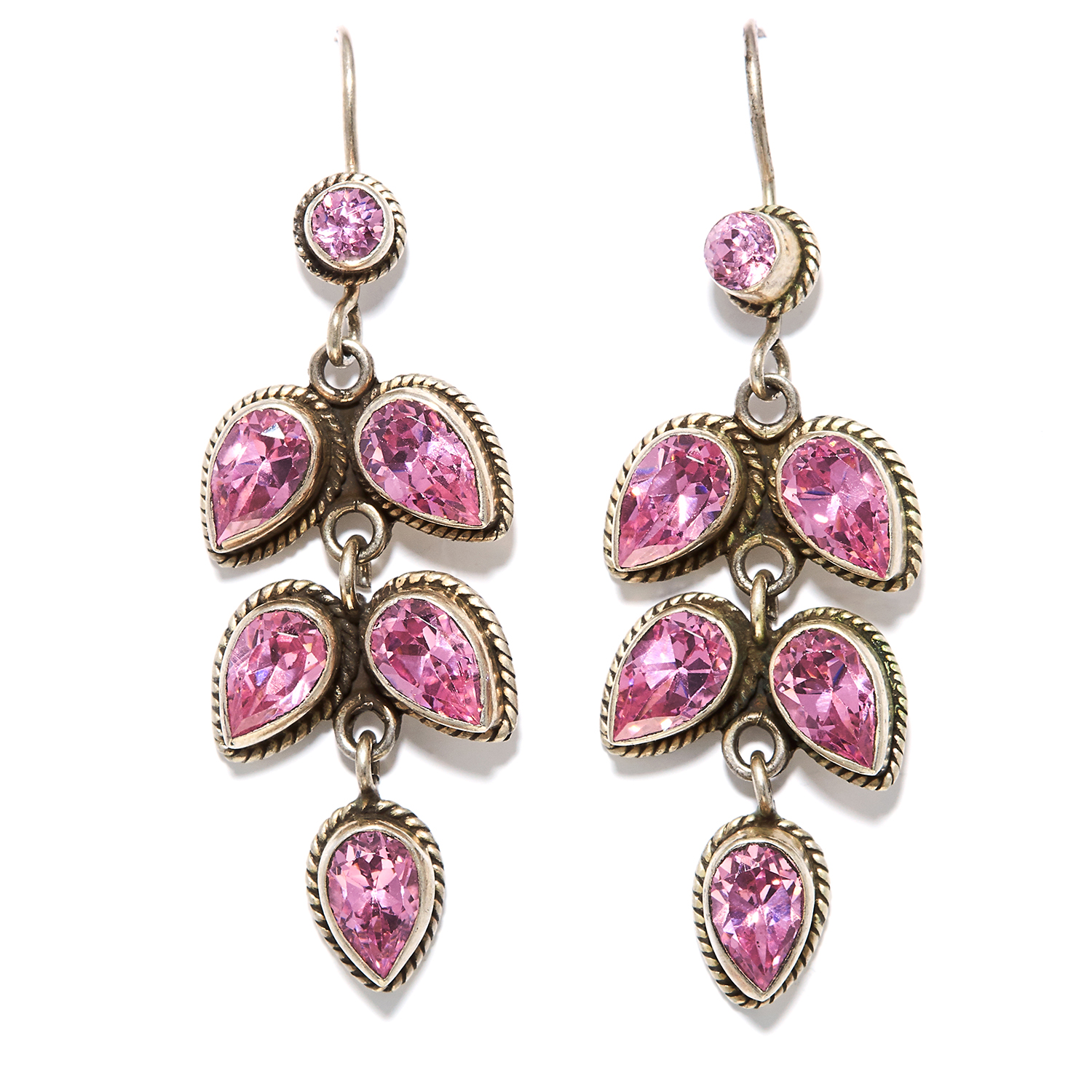 A PAIR OF GEM SET EARRINGS in sterling silver, set with round and pear cut pink gemstones, stamped