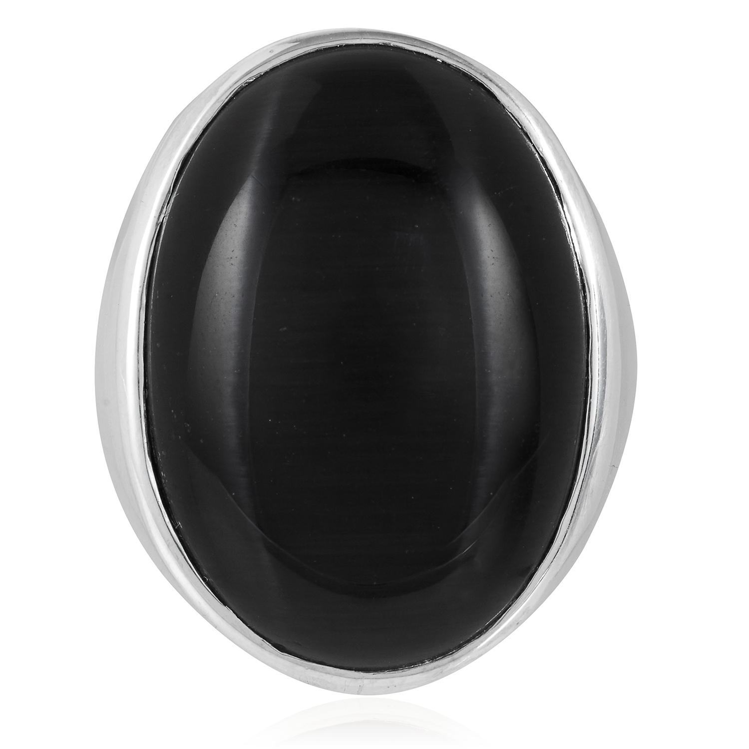 A CATS-EYE DRESS RING in sterling silver, set with a cabochon black cats-eye, size Q / 8, 19.0g.