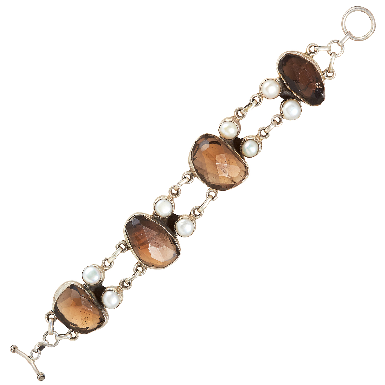 A SMOKEY QUARTZ AND PEARL BRACELET, INDIAN in sterling silver, set with four faceted smokey quartz