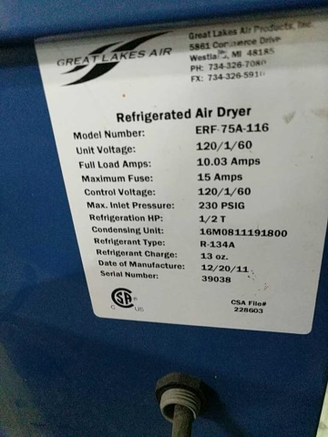 Great Lakes Air Refrigerated Air Dryers - Image 4 of 4