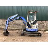BLUE HANNEX N&B15 TRACKED MINI DIGGER / EXCAVATOR - BLADE OFF SET, RUNS, DRIVES AND DIGS *PLUS VAT*