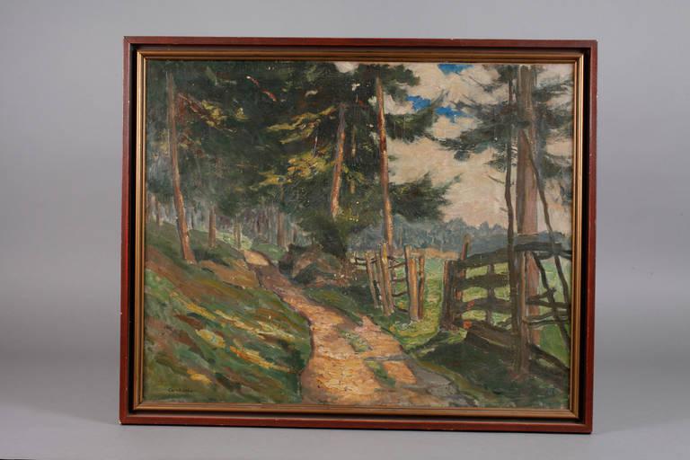 Auktionslos 4398 - Carl Piepho, Weg in sommerlicher Waldlandschaft Blick entlang eines schmalen Pfades am Weidezaun, in