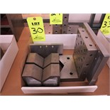 "LOT OF (2) 2 1/2"" X 3 1/2"" X 6"" V-BLOCKS, AND (1) 3"" X 4 1/2"" X 7"" ANGLE PLATE"