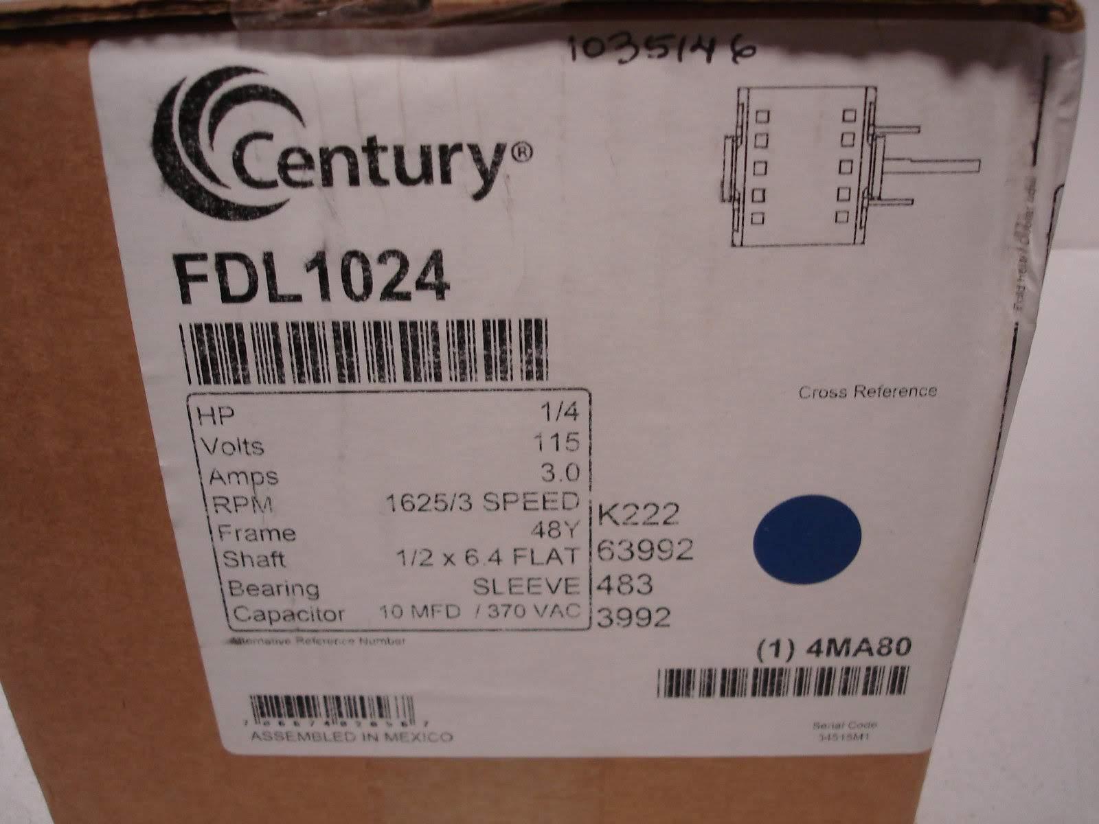 Lot 16 - (1) *NIB* CENTURY OYK1026 REPLACEMENT MOTOR HP1/4 VOLTS208-230 RPM1075 48Y *NIB*; (1) *NIB*